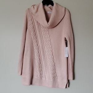 NWT Calvin Klein blush cable knit sweater